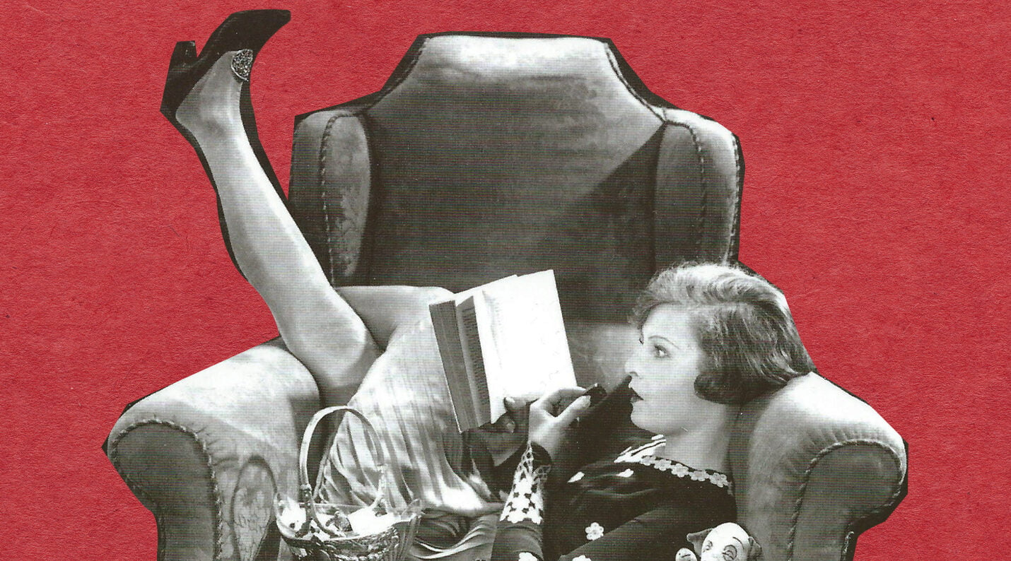 vintage woman reading in chair