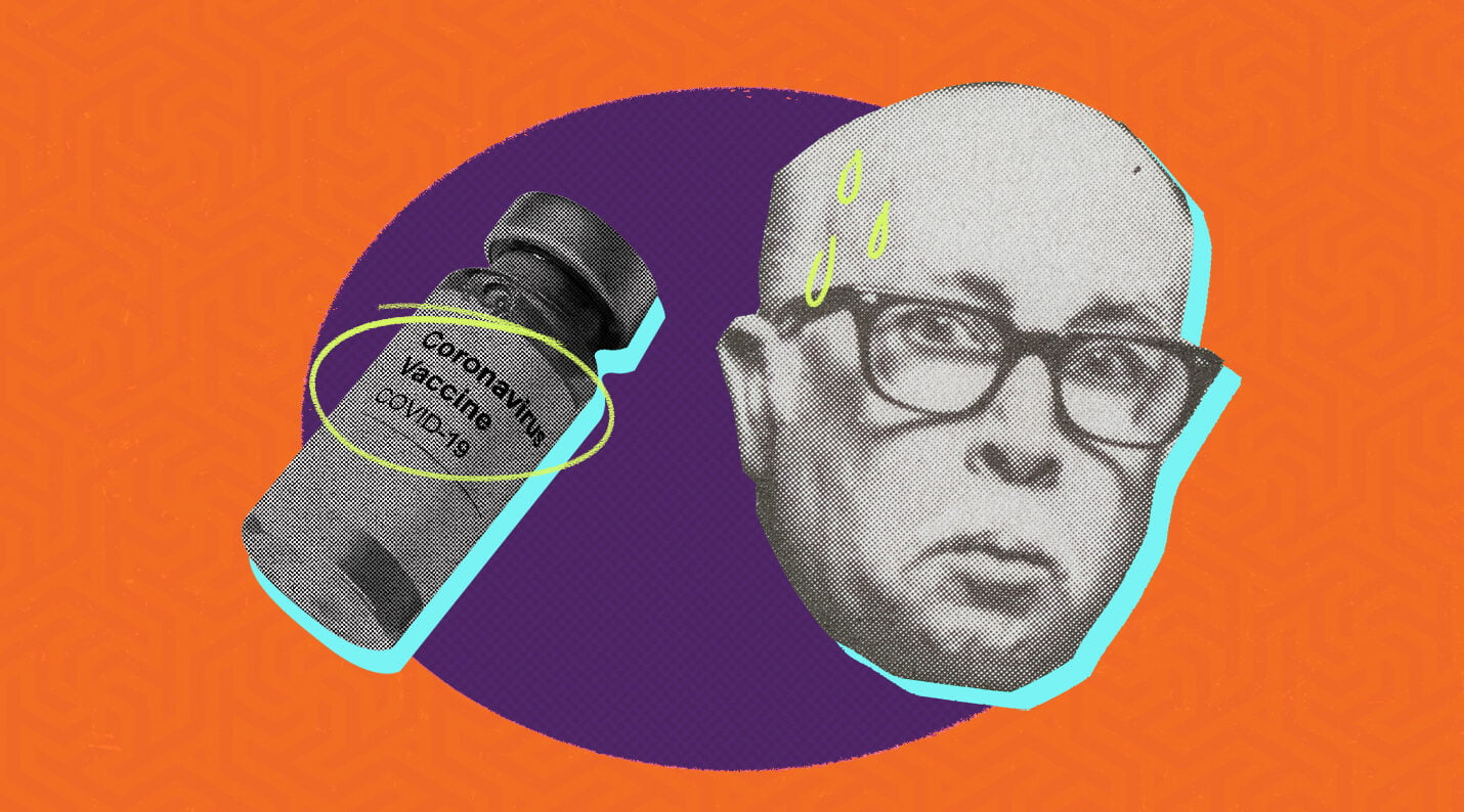 covid vaccine with retro man