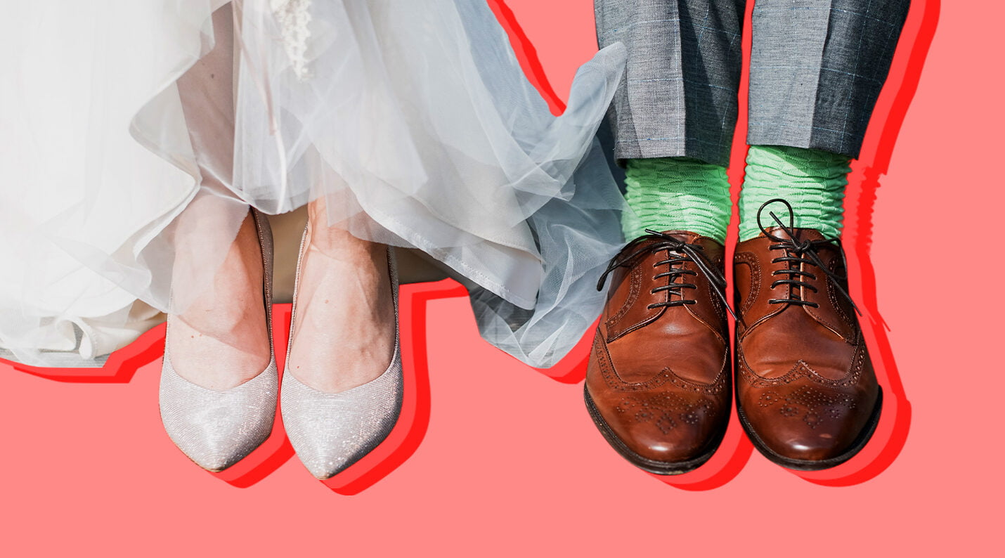 the science of love can help us lead better love lives, illustrated by two pairs of wedding shoes