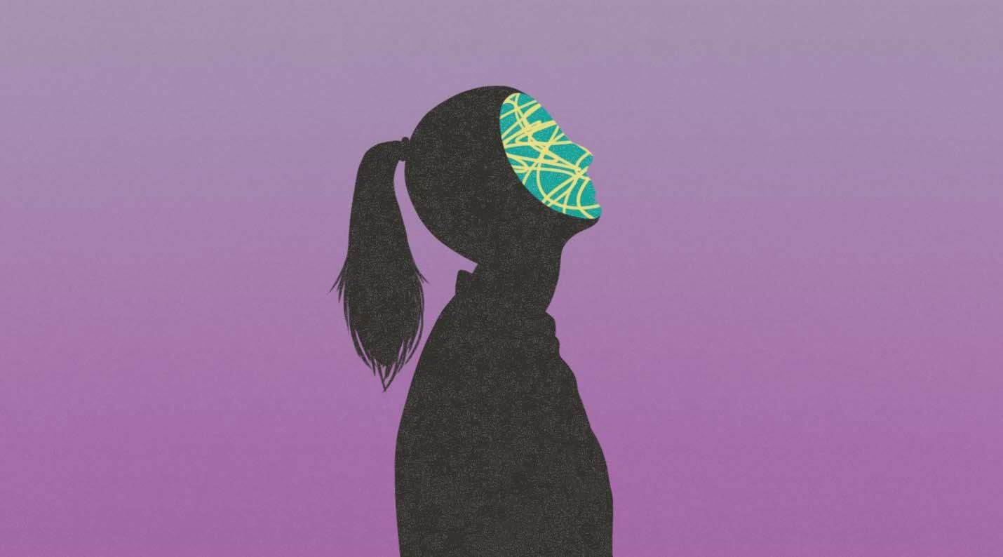 silhouette of woman with mask