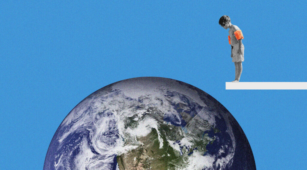 can we be more positive about climate change, boy on diving board looking at earth